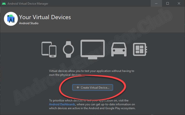 Кнопка создания виртуального девайса в Android Studio