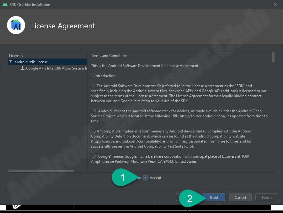 Принятие лицензии Android Studio